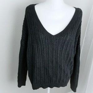 Final! Black Wide Deep Vneck Sweater Longsleeve XL